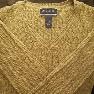 Olive Green V-Neck Sweater
